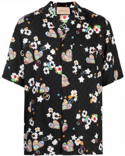 Czarna koszula krótki rękaw z jedwabiu Gucci