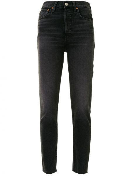 Хлопковые с завышенной талией черные джинсы Re/done