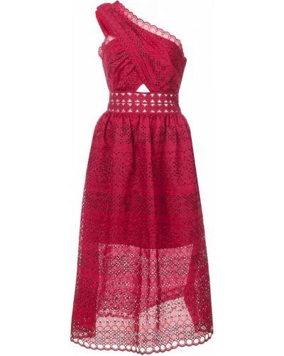 Красное платье на одно плечо Self-portrait