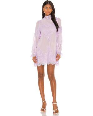 Fioletowa sukienka koronkowa sznurowana Hah