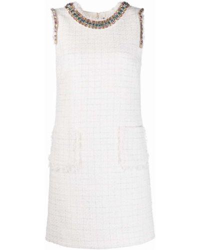 Белое платье твидовое с вырезом Blumarine