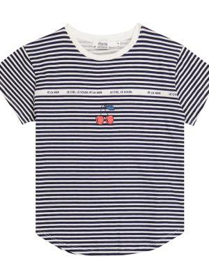 Хлопковая белая рубашка в полоску Bonpoint