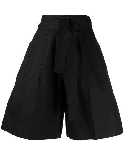 Czarne szorty z wysokim stanem bawełniane Jil Sander