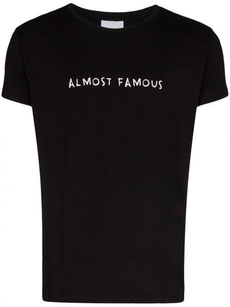 Хлопковая черная футболка с вышивкой свободного кроя Nasaseasons