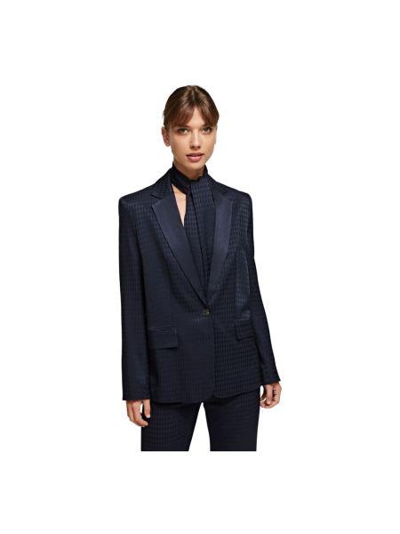 Niebieska kurtka w kratę oversize Karl Lagerfeld