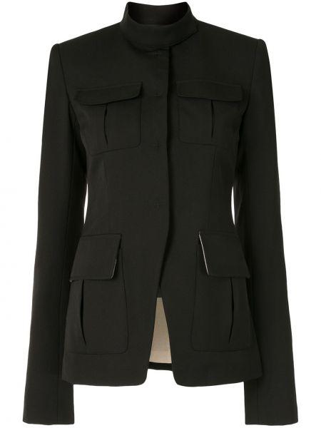 Шерстяной черный удлиненный пиджак с карманами Vera Wang