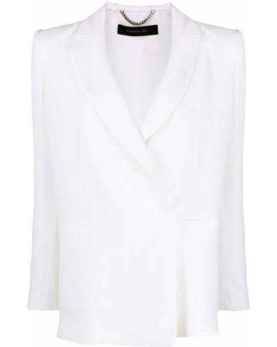 Прямой белый удлиненный пиджак из вискозы Federica Tosi