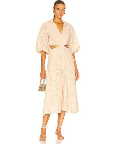 Текстильное бежевое платье миди с подкладкой Jonathan Simkhai