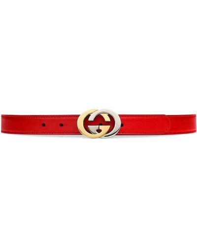 Красный кожаный ремень с пряжкой Gucci Kids