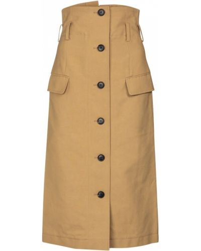 Ватная бежевая юбка миди из вискозы Victoria Beckham