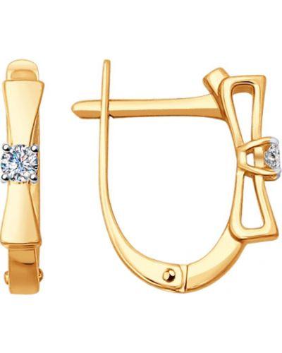 Золотые серьги с бриллиантом с бантом Sokolov