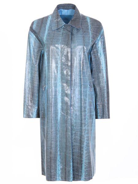 Кожаный плащ - голубой Prada