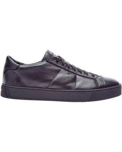Мягкие кожаные черные кроссовки с сеткой Santoni