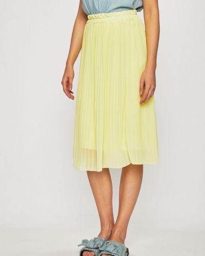 Желтая расклешенная плиссированная юбка на резинке в рубчик Haily's