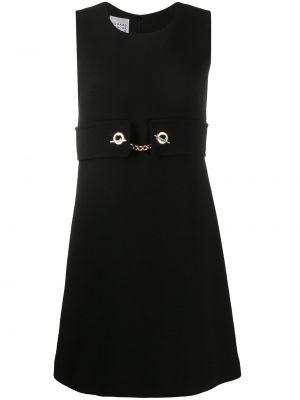 Шерстяное черное платье без рукавов круглое Edward Achour Paris