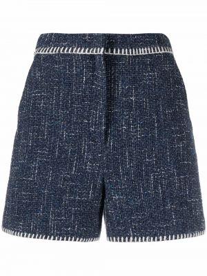 Синие хлопковые шорты с завышенной талией Boutique Moschino