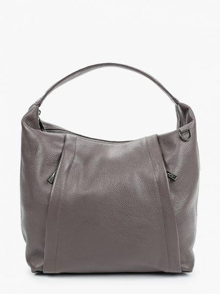 Серая кожаная сумка из натуральной кожи Valensiy