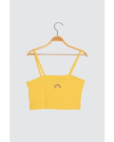 Żółta bluzka bawełniana z haftem Trendyol