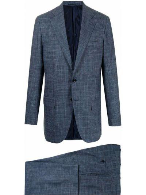 Синий шелковый костюм на пуговицах Kiton