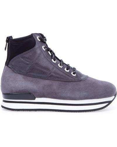 Высокие кроссовки бархатные на шнуровке Hogan
