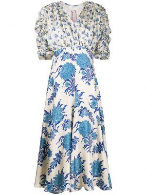 Sukienka midi z falbanami krótki rękaw z jedwabiu Antonio Marras
