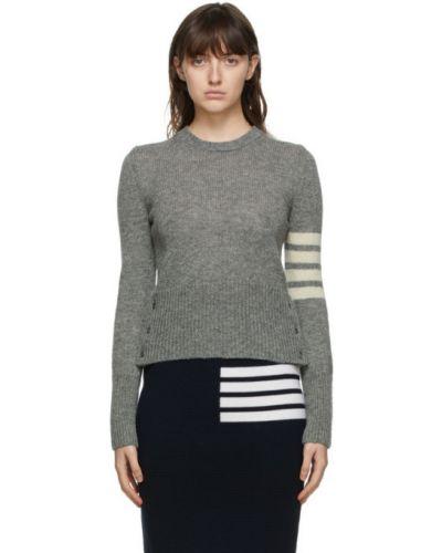 Белый длинный свитер с воротником на пуговицах с нашивками Thom Browne