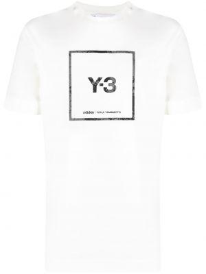 Хлопковая с рукавами белая футболка Y-3