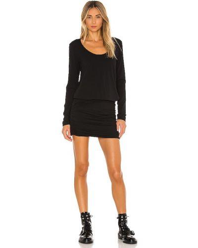 Трикотажное черное платье макси с длинными рукавами Bobi