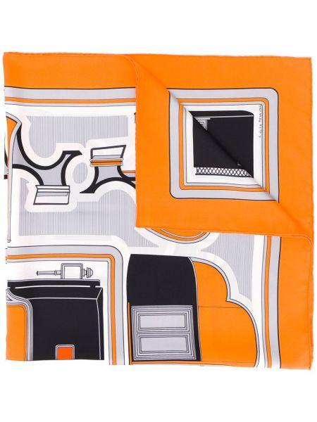 Оранжевый шелковый платок Hermès Pre-owned