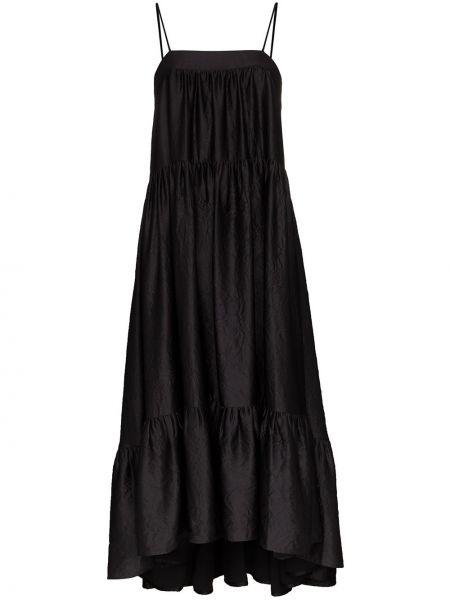 Satynowa sukienka wieczorowa - czarna Simon Miller