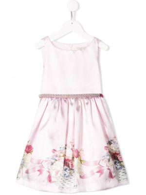 Платье с рукавами с жемчугом с цветочным принтом Monnalisa