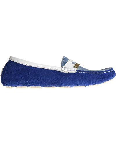 Мокасины замшевые синие Moschino