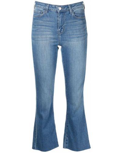 Хлопковые расклешенные синие укороченные джинсы L'agence