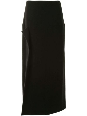 Шерстяная черная асимметричная юбка миди с потайной застежкой Yohji Yamamoto Pre-owned