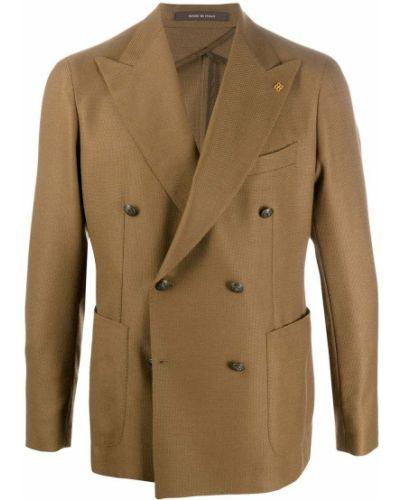 Коричневый классический пиджак двубортный с карманами Tagliatore