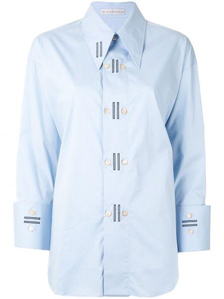 Синяя рубашка с воротником с вышивкой на пуговицах Palmer / Harding
