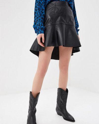 Кожаная юбка весенняя черная Silvian Heach
