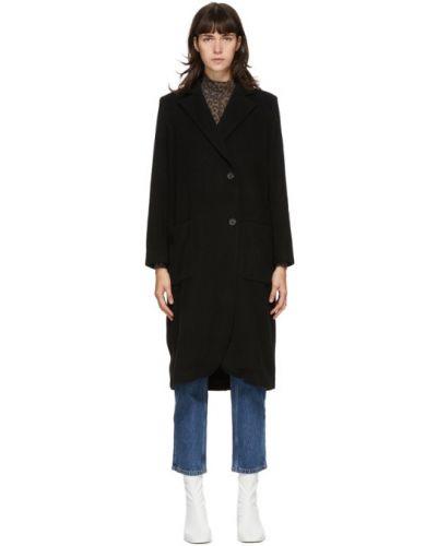 Шерстяное черное длинное пальто с воротником Won Hundred
