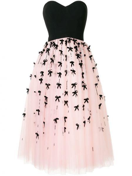Нейлоновое расклешенное розовое платье миди с вырезом Carolina Herrera