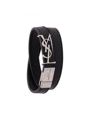 Кожаный браслет черный серебряный Saint Laurent