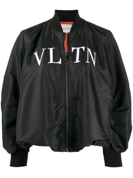 Czarna długa kurtka z długimi rękawami z wiskozy Valentino