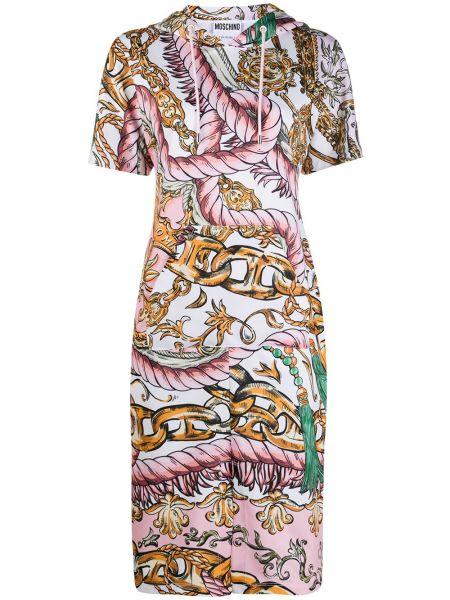 С рукавами облегающее розовое платье миди Moschino