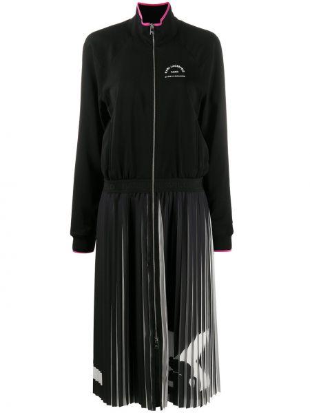 Платье миди в рубчик с поясом Karl Lagerfeld