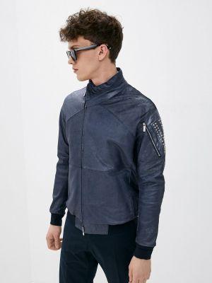 Кожаная куртка - синяя Emporio Armani