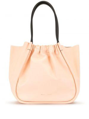 Розовая кожаная сумка-тоут с оборками Proenza Schouler