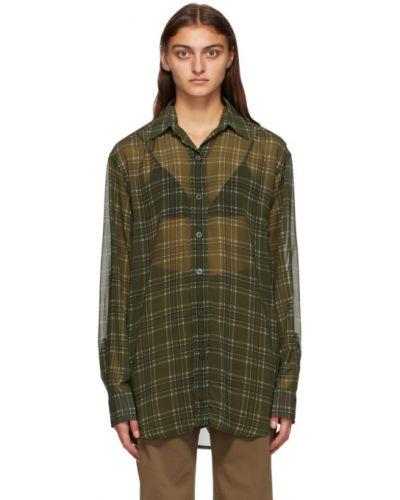 Рубашка с манжетами с воротником с жемчугом хаки Dries Van Noten