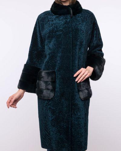 Норковое синее пальто с воротником Aliance Fur