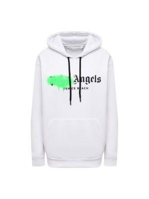 Хлопковое белое худи Palm Angels