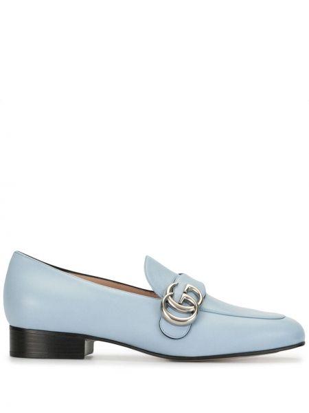 Skórzany niebieski loafers na pięcie okrągły Gucci
