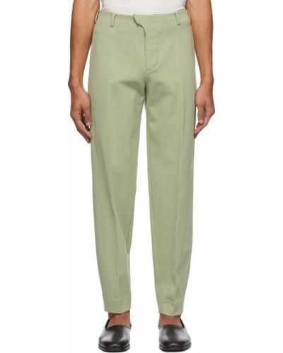 Zielone spodnie z paskiem z wiskozy Vejas